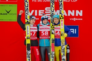 von links: Simon Ammann, Kamil Stoch, Noriaki Kasai